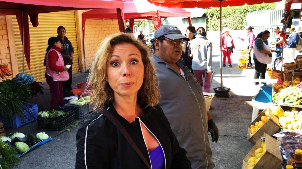 Amelia Surprised at Mercado 27 de Febrero in Cuenca Ecuador