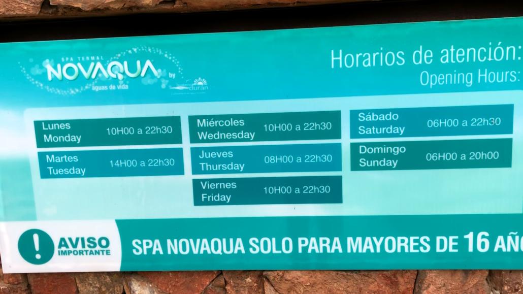 Cuenca Hot Springs Novaqua Sign