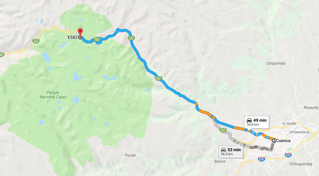 Cuenca to Cajas Map