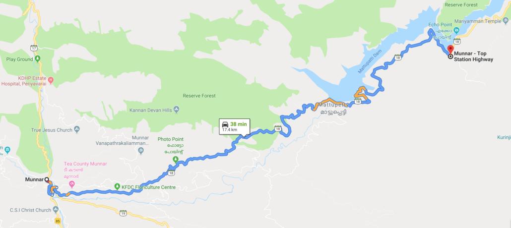 Munnar Mattupetty Map
