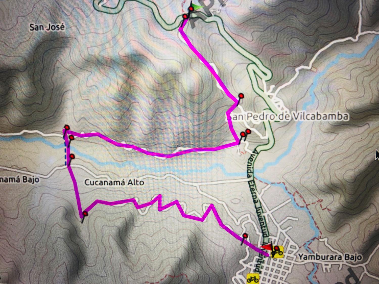 Vilcabamba Madre Tierra Walk Map